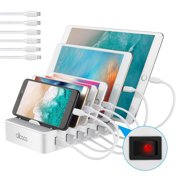 6-Port USB Charging Station Organizer Charging Stand Smart Charging Station Dock & Organizer for Smartphones, Tablets & Other Gadgets - White