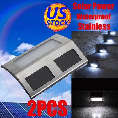 2x Stainless Steel Solar Power Steel LED Light Pathway Path Step Stair Wall Garden Yard Lamp Stainless Steel Solar Wall