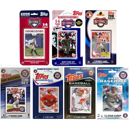 C&I Collectables MLB Washington Nationals 7 Different Licensed Trading Card Team Sets ()