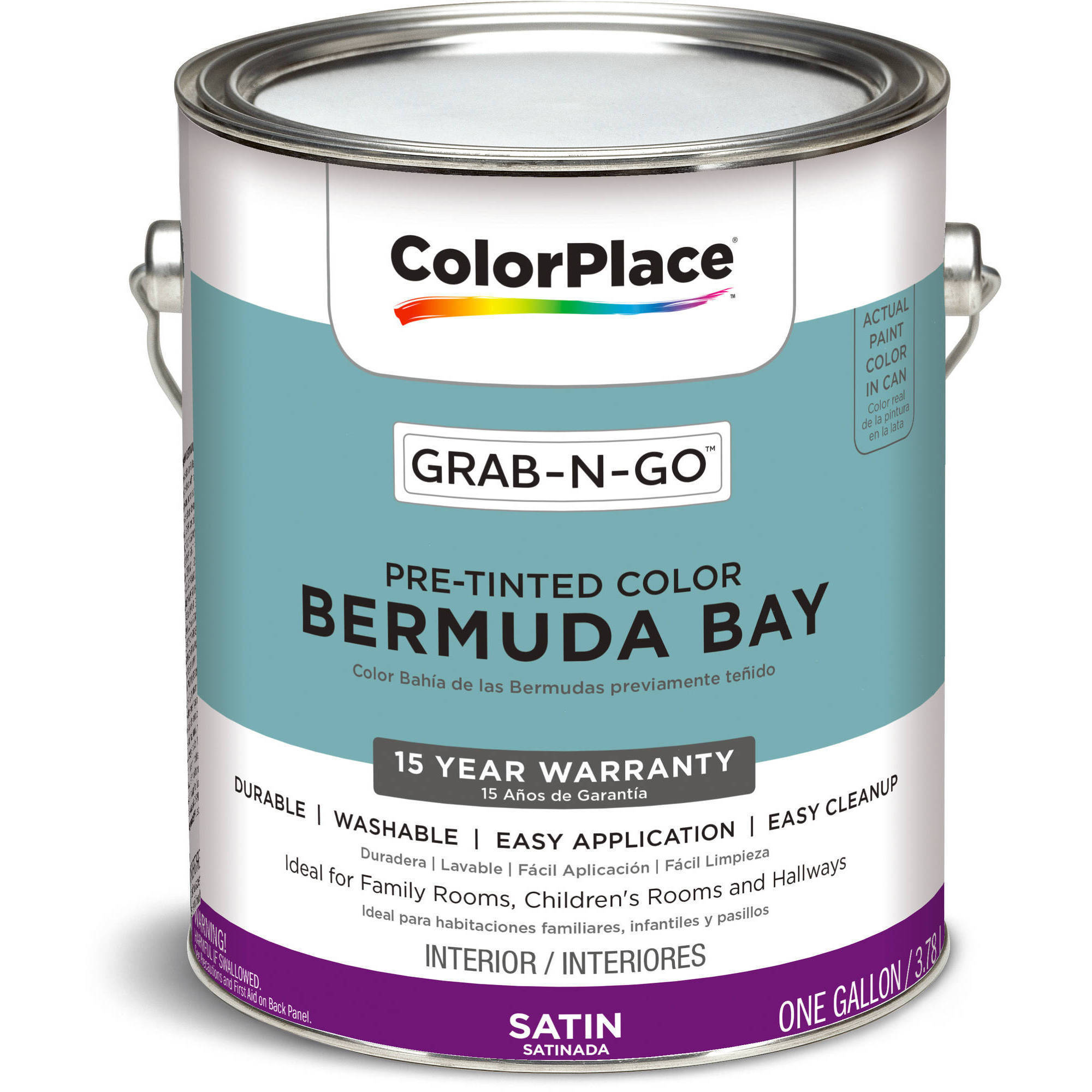 ColorPlace Grab-N-Go, Interior Paint, Satin Finish, Bermuda Bay, 1 Gallon by PPG Architectural Coating