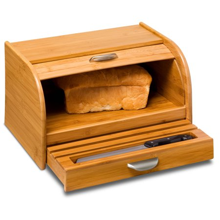 Honey Can Do Bamboo Bread Box with Roll-Top Cover and Cutting Board ()
