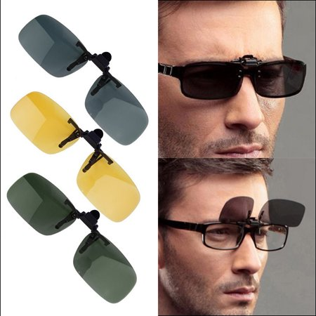 Clip-on Flip-up Lens Day-Night Vision Driving Glasses Sunglasses Eyewear - image 4 de 7