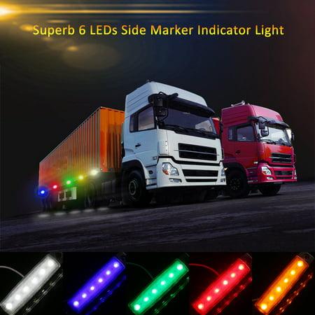 DC12V/24V 6 LEDs Side Marker Indicator Light Clearance Lamp SMD2835 IP65 Water Resistance for Truck Bus Trailer RV Car - image 4 de 7