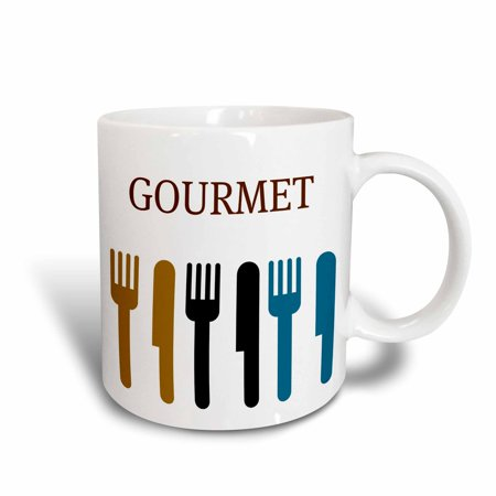 Wallace Rose Dinner Knife - 3dRose Gourmet Fork and Knife- Dining- Dinner Art, Ceramic Mug, 11-ounce