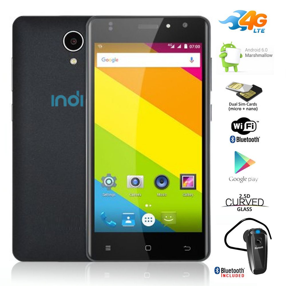 "Indigi® NEW UltraSlim 4G SmartPhone Curved 5"" Android 6.0 Google Play + Bluetooth Bundle"