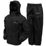 Frogg Toggs All Sport Rain Suit, Black Jacket/Black Pants, Size Medium