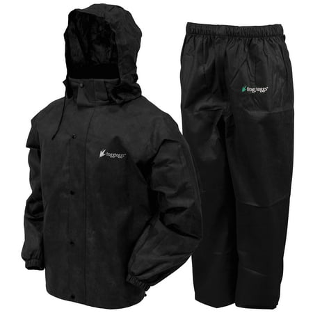 Complete Rainsuit (Frogg Toggs All Sport Rain Suit, Black Jacket/Black Pants, Size Medium)