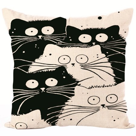 CLEARANCE Set Of Two Throw Pillows Cases Justdolife Cute Cat Unique Decorative Pillows For Bed Clearance