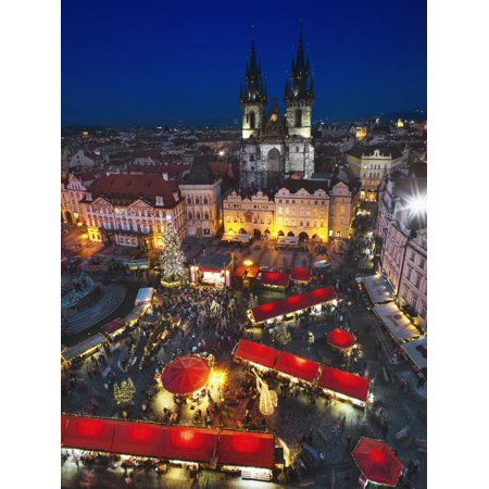 The Christmas Market in Old Town Square with Tyn Church Behind Print Wall Art By Jon Hicks ()
