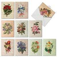 10 All Occasion Flower Cards with Envelopes (4 x 5.12 Inch) - Retro Blank Note Cards with Floral Bouquets, Boxed M6454OCB
