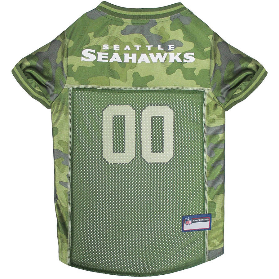 Pets First NFL Seattle Seahawks Camouflage Jersey For Dogs, 5 Sizes Available, Pet Shirt For Hunting, Hosting a Party, or Showing off your Sports Team