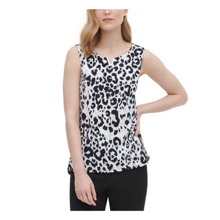 CALVIN KLEIN Womens Gray Printed Sleeveless Jewel Neck Top Size XS