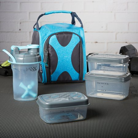 (Fit & Fresh Jaxx FitPak Sport Meal Prep Bag with Portion Control Container Set and 20 oz. Shaker Cup (Cobalt Aqua Shape Shifter) 944KFFJX1645)