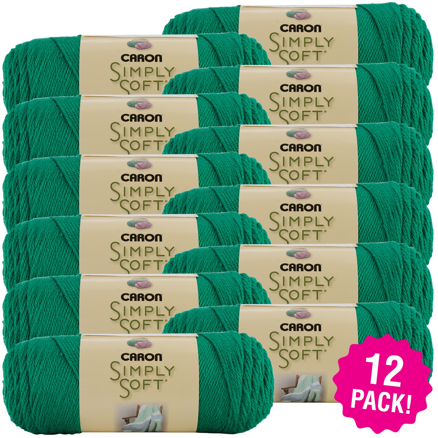 Caron Simply Soft Solids Yarn - Kelly Green, Multipack of 12