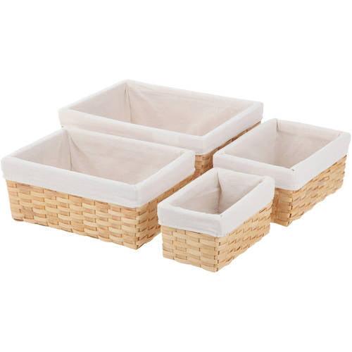 Woven Wood Basket Set, Multiple Colors, 4-Piece Set