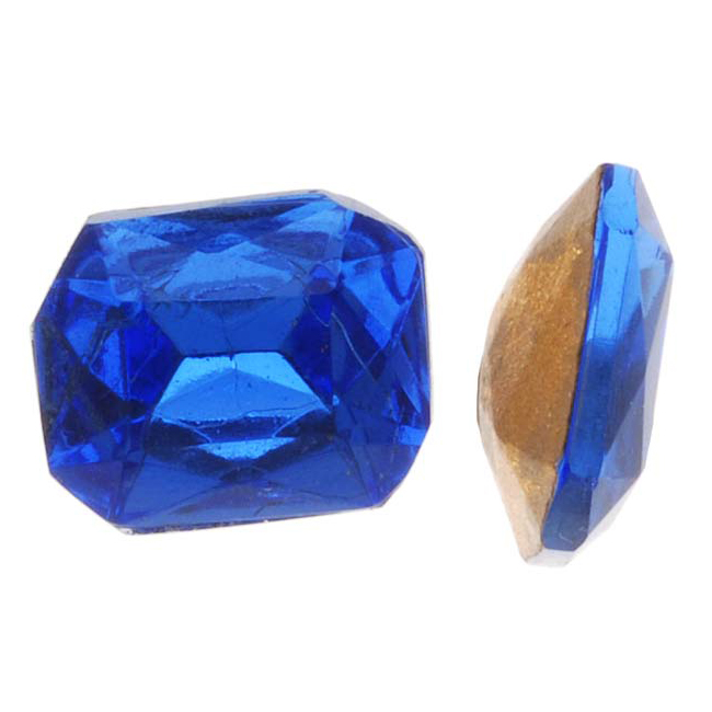 Czech Glass Table Cut - Octagon Chatons Pointed Foiled Back Sapphire 8x10mm (4)