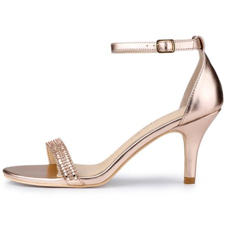 Women's Stiletto Heels Rhinestone Ankle Strap Sandals Rose Gold US 7.5 - image 3 de 7