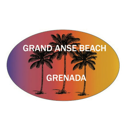 Grand Anse Beach Grenada Souvenir Palm Trees Surfing Trendy Oval Decal Sticker ()