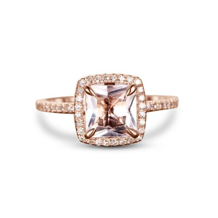 1.50 Carat princess cut Morganite and Diamond Engagement Ring in 10k Rose Gold