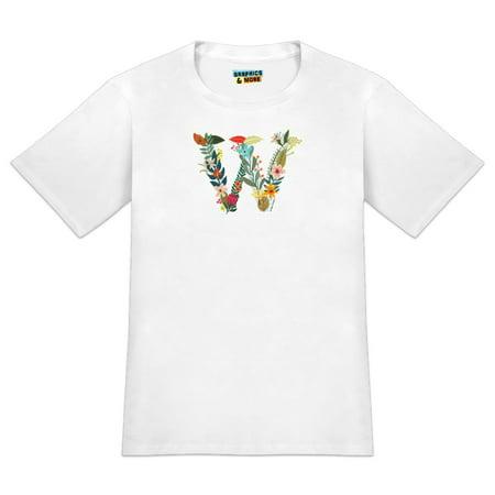 Letter W Floral Monogram Initial Men's Novelty T-Shirt Initial Production Tank