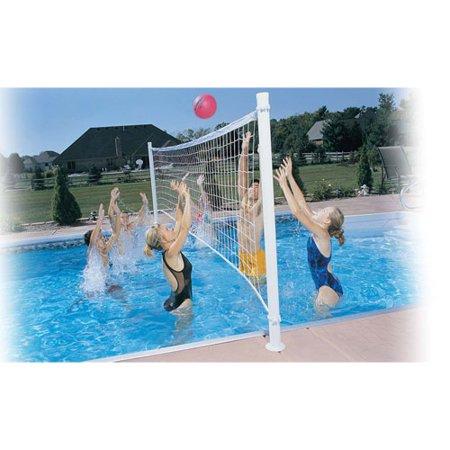 Dunnrite deckvolley swimming pool volleyball set with brass anchors salt pools for Can babies swim in saltwater pools