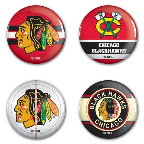 Chicago Blackhawks WinCraft 4-Pack Button Set - No Size