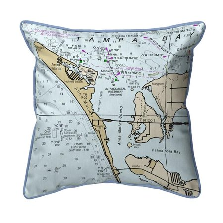 Betsy Drake ZP11424 Anna Maria Island, FL Nautical Map Extra Large Zippered Indoor & Outdoor Pillow - 22 x 22 (Maria's Halloween)