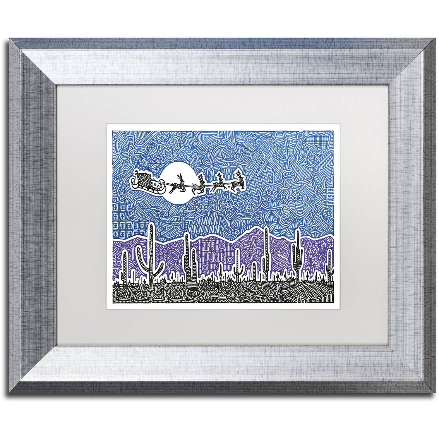 Trademark Fine Art 'Cactus Christmas' Canvas Art by Viz Art Ink, White Matte, Silver Frame