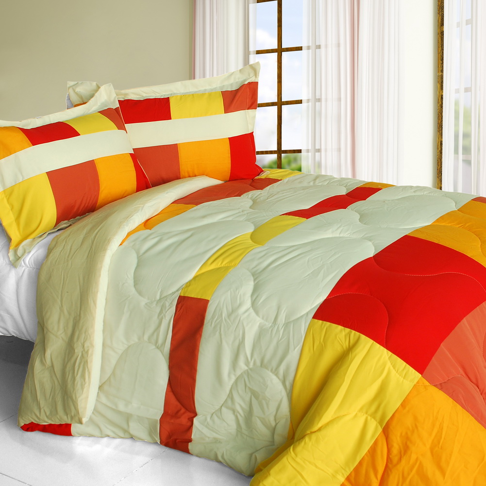 [Charming Bedford] Quilted Patchwork Down Alternative Comforter Set-Queen