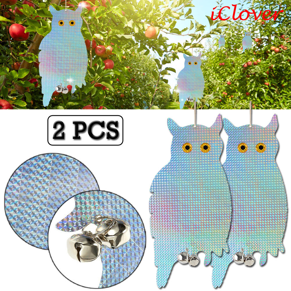[2 packs] Owl Bird Scare Hanging Repellent Device Holographic Reflective Deterrent with Bells Easy Installation & Birds Away From Your Garden, Windows & Yard IClover