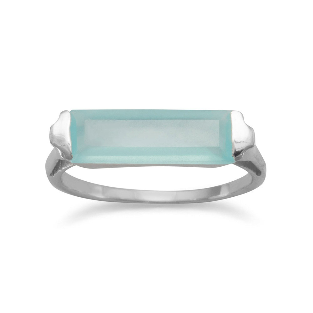 Rhod. P. Sterling Silver Ring 5mm X 14mm Green Chalcedony Bar 1.5mm Wide Ring Size: 5 to 9 by