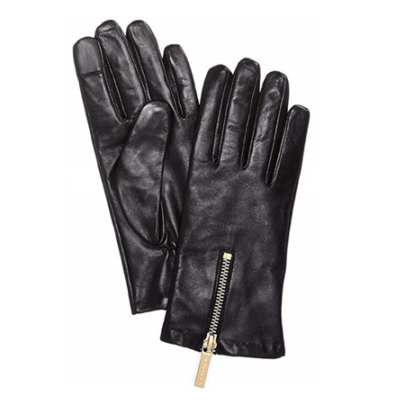 MICHAEL Michael Kors Zipper Leather Gloves, BlackGold Size Small