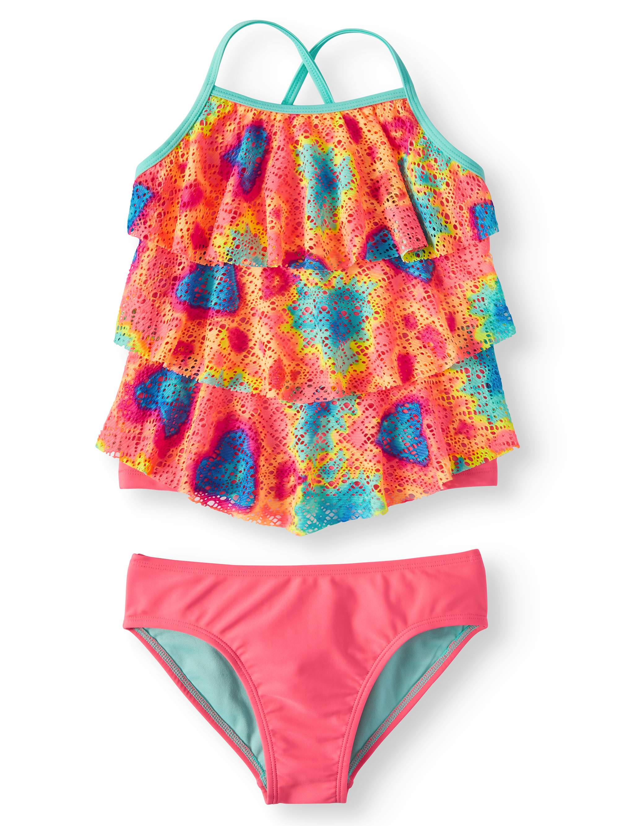 dd4b7a8b7fae Wonder Nation - Tie Dye Printed Crochet Tankini Swimsuit (Little Girls, Big  Girls & Big Girls Plus) - Walmart.com