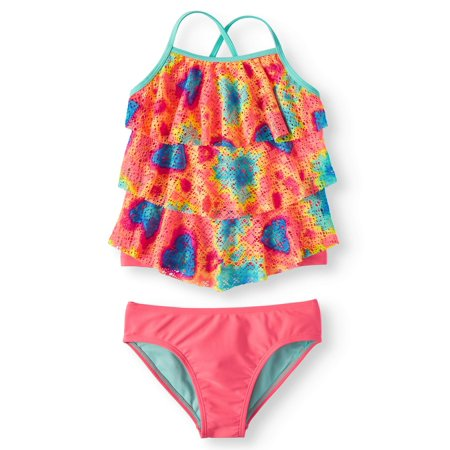 Tie Dye Printed Crochet Tankini Swimsuit (Little Girls, Big Girls & Big Girls Plus) - Girls In Swimwear