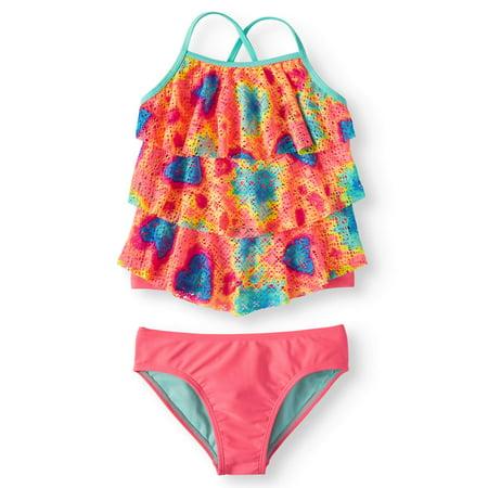 Swimsuite Girls (Tie Dye Printed Crochet Tankini Swimsuit (Little Girls, Big Girls & Big Girls)