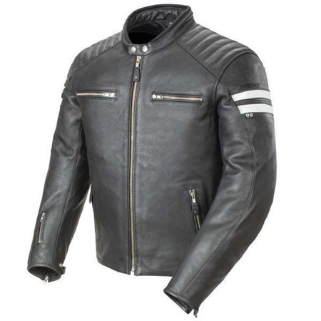 Joe Rocket Joe Rocket 'Classic 92' Mens Black/White Leather Motorcycle Jacket Black (Joe Rocket Riding Jackets)