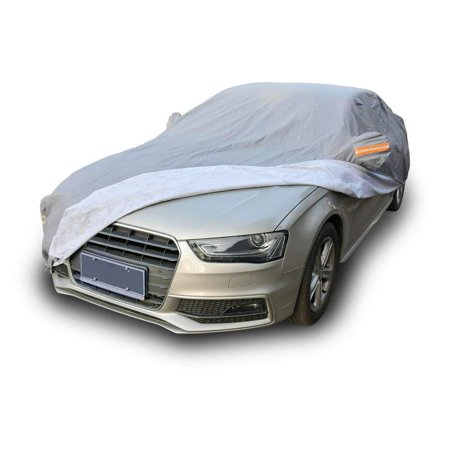 Fit Indoor Car Cover - Breathable Universal Fit Car Cover All Weather Outdoor Indoor Full Waterproof Heat Sun UV Rain Snow Dust Resistant Covers(Fits Cars Up To 208 Inches,PEVA,Gray)