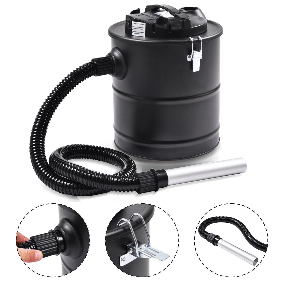 Costway 5.3 Gallon 1000W Ash Vacuum Cleaner For Fireplaces Stove BBQ Wet Dry Dust