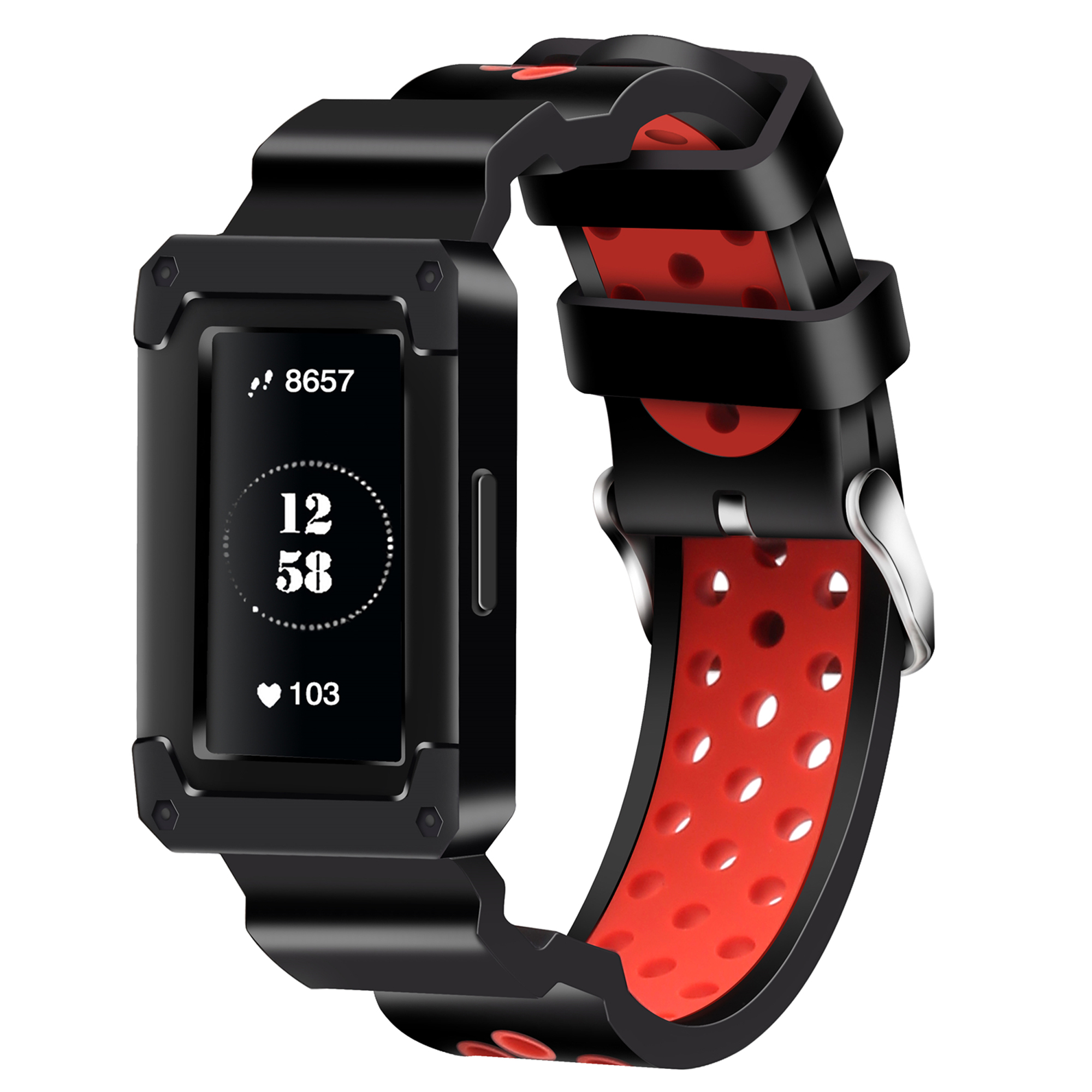 Moretek Fitbit Charge 3 Replacement Bands, Soft Silicone Sport Wrist Band Strap for Fitbit Charge 3 (Black+Red)