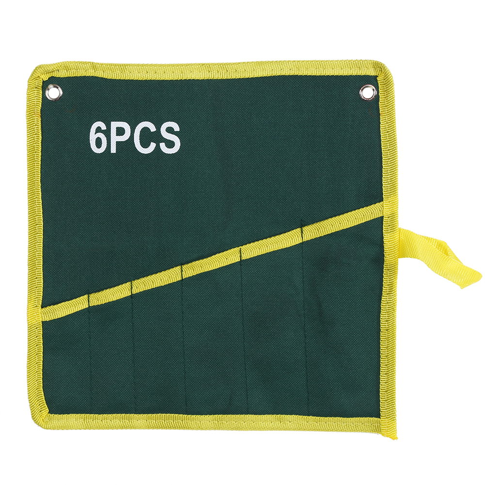 1Pc Durable Canvas 6/8/10/12/14/25 Pockets Spanner Wrench Tool Roll Up Storage Bag Green,Spanner Roll Up Storage Pouch,Wrench Organizer Pouch