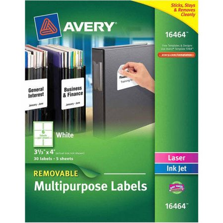 avery removable multipurpose id labels white 6 up 60ct walmart com