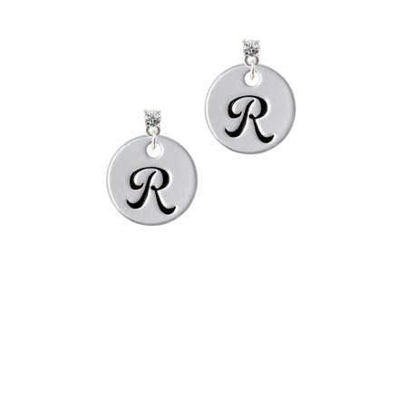 Silvertone Large Script Letter - R - 3/4'' Disc - Clear Crystal Post Earrings