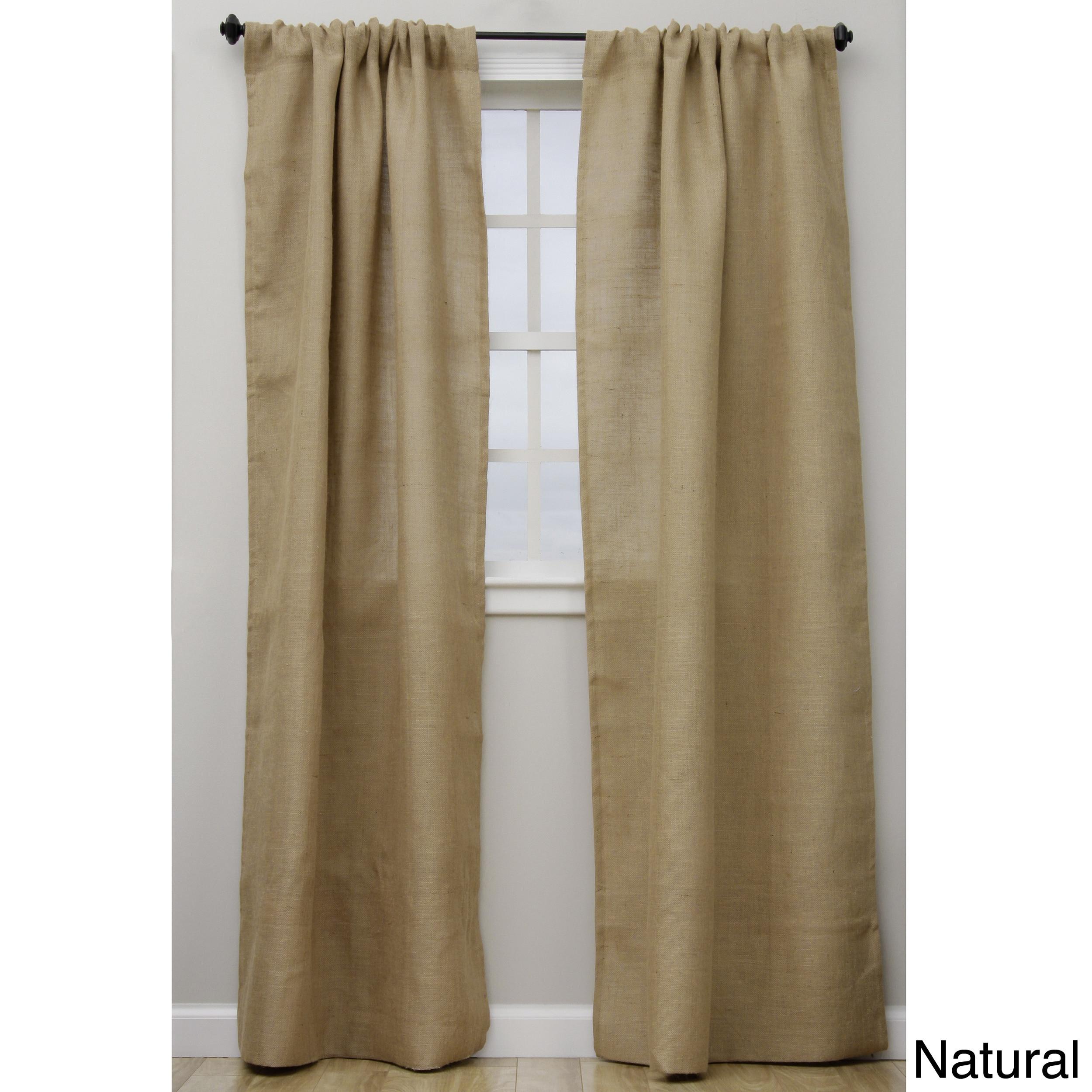 saro open weave lined burlap 96-inch curtain panel - walmart