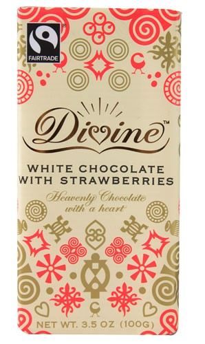 Divine Chocolate White Chocolate with Strawberries 3.5 oz by Divine Chocolate