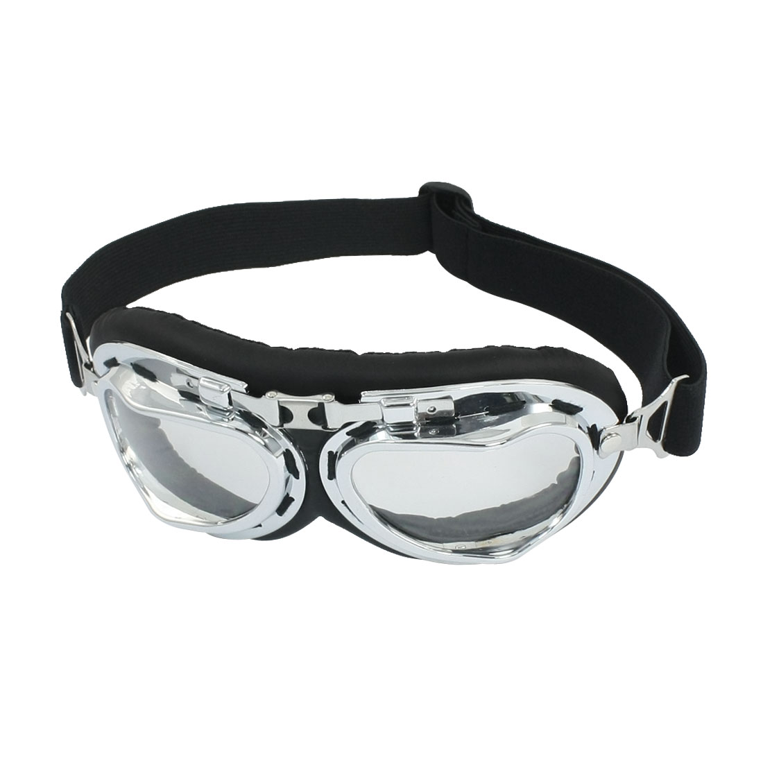 Men Ladires Clear Lens Dilver Tone Frame Ski Skating Skiing Goggles by