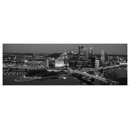 Great BIG Canvas | Rolled Circle Capture Poster Print entitled Pittsburgh City Skyline at Night, Black and - Party City Pittsburgh