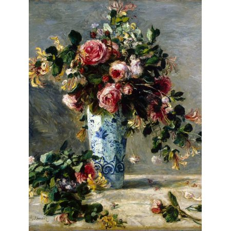 - Roses and Jasmine in a Delft Vase, 1880-1881 Floral Bouquet Flower Still life Print Wall Art By Pierre-Auguste Renoir
