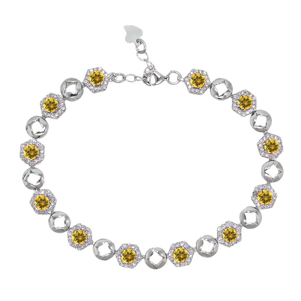 5.93 Ct Round Yellow Citrine 925 Sterling Silver Bracelet by