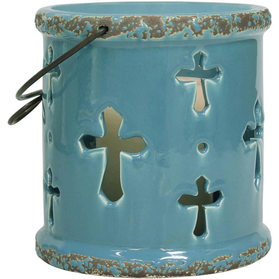 Blue Gem Turquoise Ceramic Cross Lantern