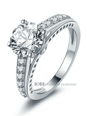 02a5c59f1 Product Image ON SALE - Daphne 2CT Solitaire Surprise Detail Cathedral IOBI  Cultured Diamond Ring 10.75